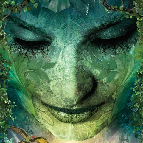 Illustration of woman's face covered with plant life and looking down on a forest floor and wildlife