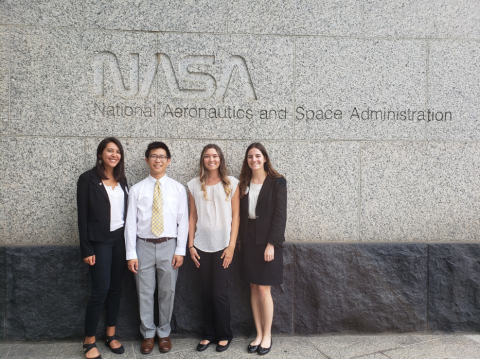 Photo of DEVELOP team under NASA sign