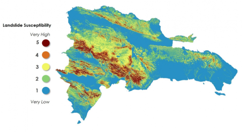 Color coded map of landslide data in the Dominican Republic