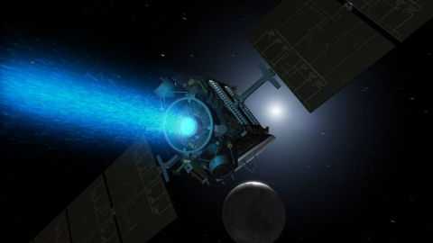Illustration of NASA's Dawn spacecraft, with its distinctive ion propulsion.