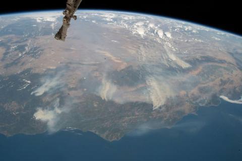 Satellite image of California wildfires