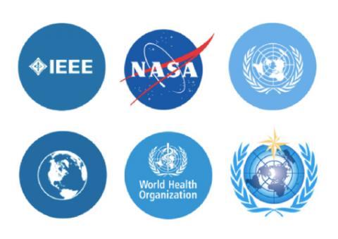 composition of 6 logos: NASA,