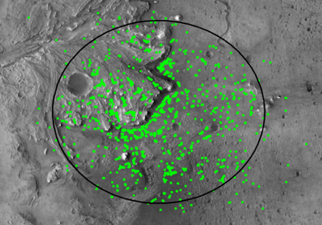 Map of safe landing targets represented by bright green dots.
