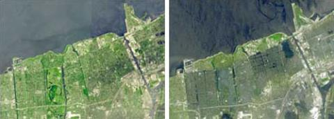 Before and after photo of Hurricane Katrina damage to the New Orleans coast line