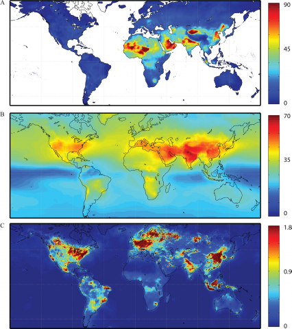 Pollutant concentrations map