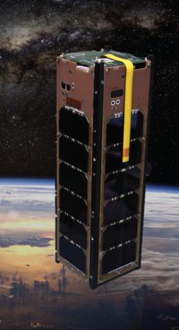 Illustration of a rectangular satellite in orbit