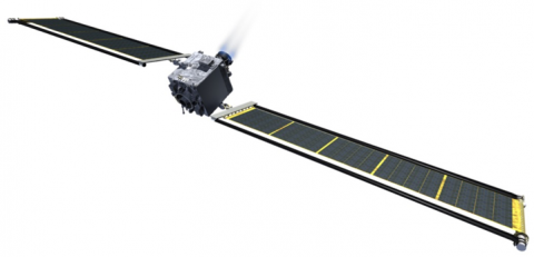 artist concept of spacecraft with solar arrays