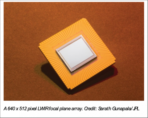 Close up photo of gold and silver focal plane array chip.