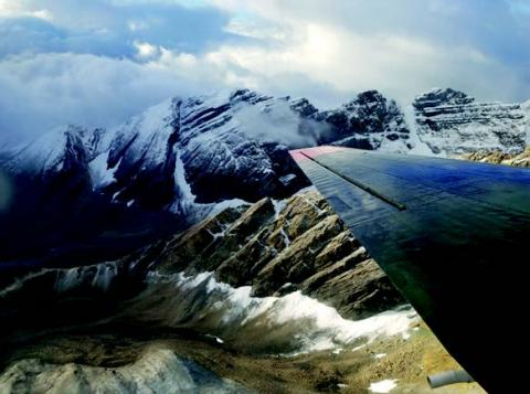 Photograph of Canadian Rocky mountains, view from airplane