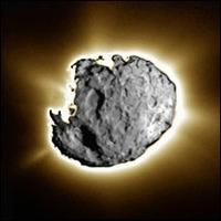 Composite photo image of comet Wild 2, a large pock-marked rock