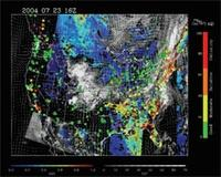 Colorful satellite image of the United States representing cloud, wind and fire data
