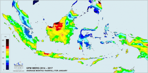 Average rainfall map in Indonesia