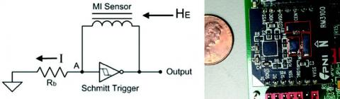 Photo of magnetometer circuit next to penny for scale