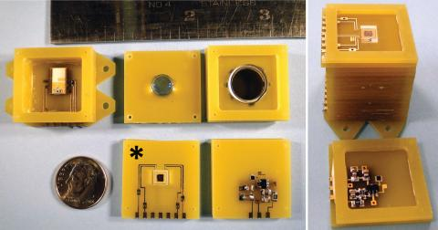Photo of magnetometer sensor comparable in size to a penny