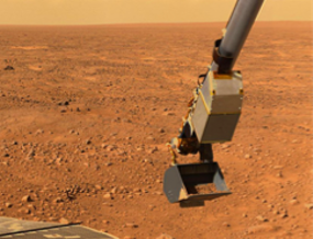 Photo of surface of Mars with Phoenix scoop