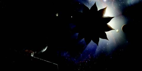Artist's rendition of a starshade blocking starlight from a nearby planetary system