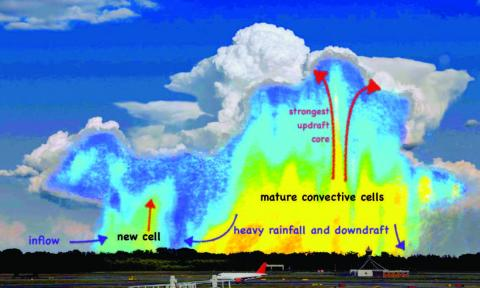 Diagram illustrating the anatomy of a deep convection cloud