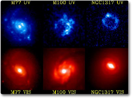 image showing three different galaxies taken in visible light (bottom three images) and ultraviolet light (top row) taken by NASA's Ultraviolet Imaging Telescope (UIT) on the Astro-2 mission.