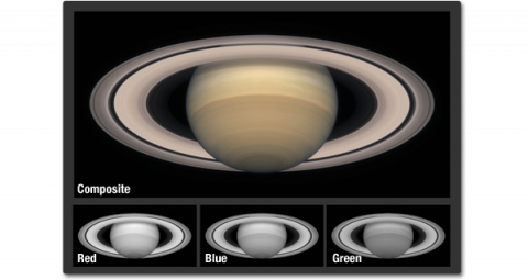 Three small grayscale images showing each channel of an image of Saturn. The forth image shows a full color image of Saturn with light browns and warm grays.