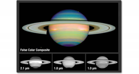 Three small grayscale images showing each channel of an image of Saturn in false color. The forth image show Saturn with brilliant colors of purple, blue, green and orange.