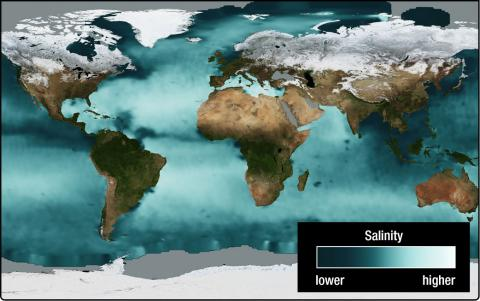 An image of the Earth with the ocean colored a variety of shades from white to dark blue. The white indicates high levels of salinity and are prevalent in the Atlantic Ocean, Mediterranean Sea and bodies of water around the Middle East.