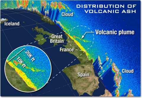 A view of western Europe showing the depth of the atmosphere and the cloud and aerosols. A wisp of ash from the Iceland volcano can been seen drifting over France.