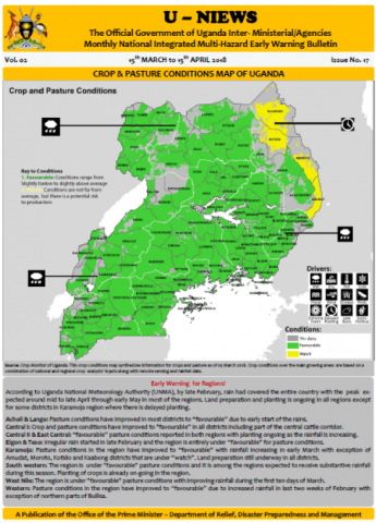 Map of crop and pasture conditions in Uganda