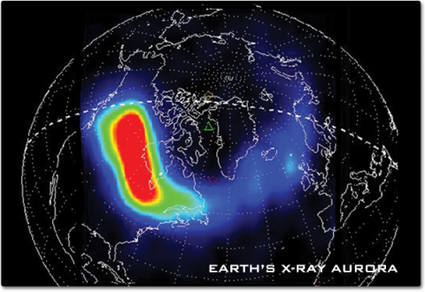 A view of the Earth's north pole with a color map of an aurora in x-ray. A large red area showing the most intensity is over northern Canada.