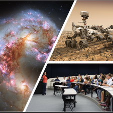 Collage of images: colorful galaxy image, mars rover and students in a classroom