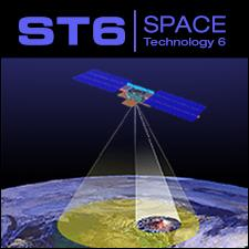 illustration of ST6 spacecraft with beam scanning surface of earth