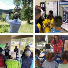 Collage of 4 photos. Top left is a man holding a phone up to mountains and trees. Top right is students and teachers in front of a science fair project. Bottom right is kids at a NASA display table. Bottom left is a tour guide and hikers.