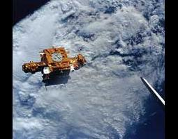 View of the Spartan 201 spacecraft from the space shuttle.