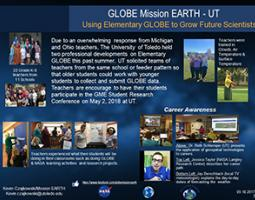 """Thumbnail of PowerPoint slide entitled """"GLOBE Mission EARTH - UT Using Elementary GLOBE to Grow Future Scientists"""""""
