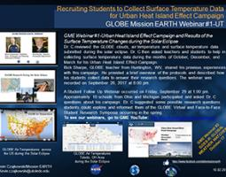 """Thumbnail of PowerPoint slide entitled """"Recruiting Students to Collect Surface Temperature Data for Urban Heat Island Effect Campaign: GLOBE Mission EARTH Webinar #1-UT"""""""