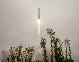 The United Launch Alliance (ULA) Atlas V rocket with the Landsat 9 satellite onboard launches, Monday, Sept. 27, 2021, from Space Launch Complex 3 at Vandenberg Space Force Base in California.