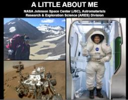 """Slide titled """"A Little About Me"""" with pics of Dr. Elizabeth Rampe in a spacesuit and on a mountain."""