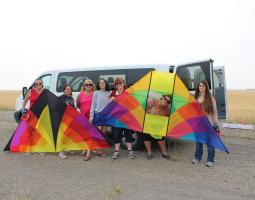 KITE-FLYING AND REMOTE SENSING WITH BOYS & GIRLS CLUB AND 4-H LEADERS IN LEWISTOWN, MONTANA