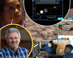 Collage of Ariel Anbar, students, and screenshots of Habitable Worlds online science class