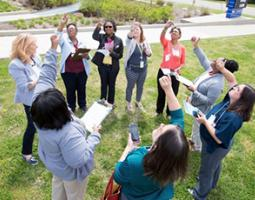 Educators became certified as GLOBE Teachers making Cloud observations using the GLOBE Observer app.