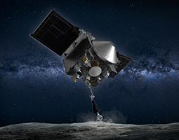 Artist's rendering of OSIRIS-REx collecting a sample from an asteroid.