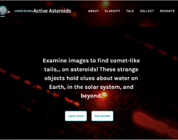 Screen shot of the Active Asteroids website