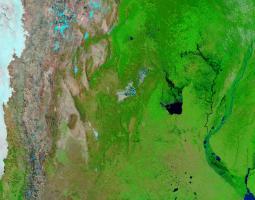Satellite imagery of Argentina lake