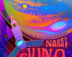 Colorful art poster of Juno with the planet Jupiter in the background.