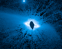 dusty blue image of star system with annotations