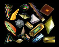 Graphical illustration of varying shapes and colors of crystals.