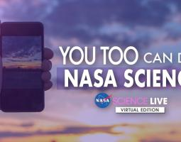 """Photo of handing holding up a mobile phone with the text """"You too can do NASA Science"""""""