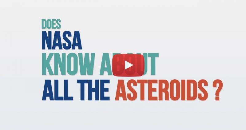 """Title screen with blue, green and orange text reading """"Does NASA know about all the asteroids?"""""""