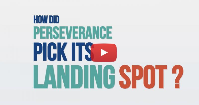 """Title frame with blue, green and orange text reading """"How did perseverance pick its landing spot?"""""""