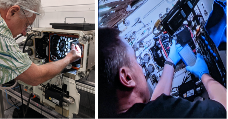 Series of 3 photos (left to right) a man next to the spectrum box, middle - a male astronaut inserting a specimen plate into the spectrum box, right - a female astronaut holding the speciman plate