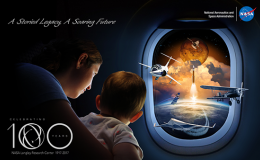 Image collage of woman and child observing a launch and flying aircraft